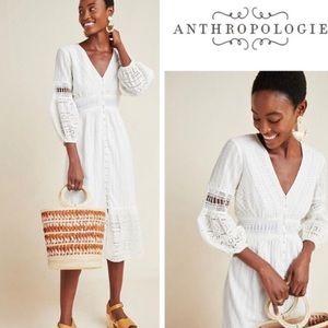 Anthropologie White Ebba Eyelet Midi Dress